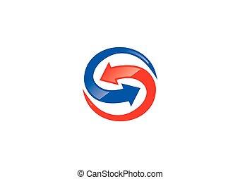 infinité, s, vecteur, flèche, logo, cercle