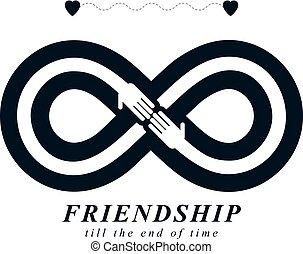 infinité, signe, à, deux mains, toucher, autre, infini, amitié, concept, toujours, amis, vecteur, créatif, logo.