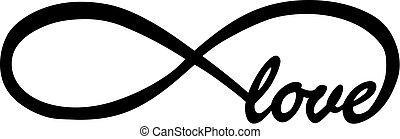 infinité, signe, amour, interminable