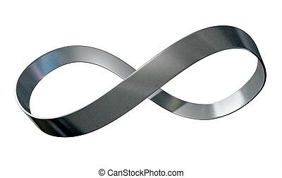 infinité, symbole, métal, ruban