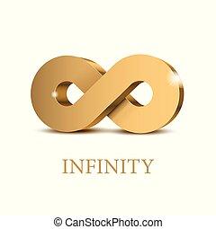 infinité, symbole., or, 3d