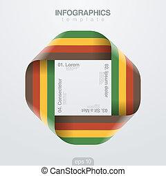 infinite., ベクトル, デザイン, リボン, infographics, template., ループ