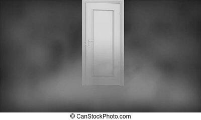 infinite doors. The door is in a thick fog. Mystic door opens.