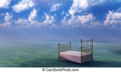 Infinite Dream. Bed in fantasy landscape