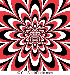 Infinite Flower in Red-Black-White