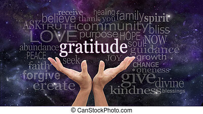 Female hands reaching up into the night sky with the word 'gratitude' floating above, surrounded by a word cloud of wise words