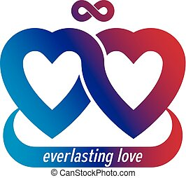 Infinite Love concept, vector symbol created with infinity loop sign and heart.