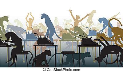 Infinite monkeys - Editable vector illustration of the ...