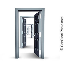 Infinite opportunities business concept with opened doors in an infinity perspective as a financial symbol of future success and opportunity in career and job promotion or having confidence and courage to move forward.