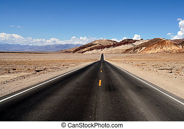 View of a boundless road in the desert.