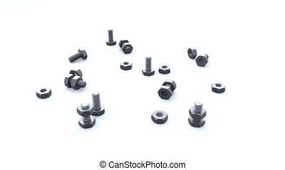 Infinite Rotation around Several Bolts and Nuts scattered on...