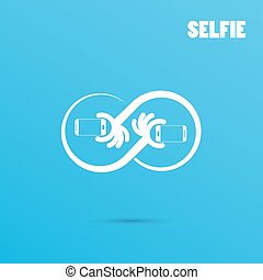 Infinite selfie logo elements design.Taking selfie portrait photo on smart phone concept icon. Selfie concept design element.
