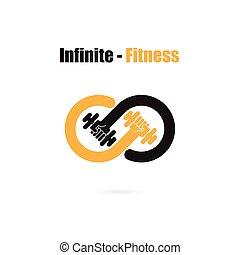 Infinite sign and dumbbell icon.Infinit,Fitness and gym...