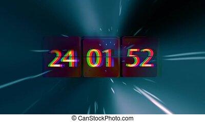infinitely, biegen, clock., chaotisch, schnell, zeit, space., grunge, begriff, bewegen