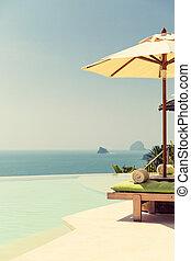 infinito, borde, mar, parasol, piscina, vista