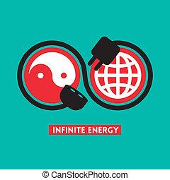 infinito, energía, concepto, ilustración