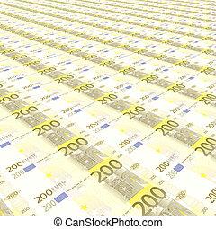 infinito, filas, de, euro notas