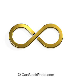 infinito, oro, simbolo., 3d, render, illustrazione