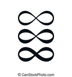 infinito, símbolo, simple, conjunto