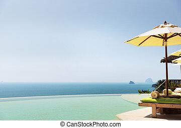 infinito, sol, océano, camas, parasol, piscina