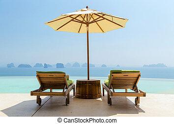 infinito, sol, playa, camas, parasol, piscina