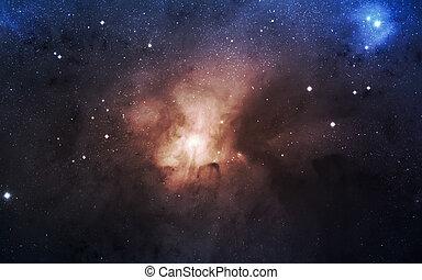 infinito, spazio, fondo, con, nebulaes, e, stars., questo,...