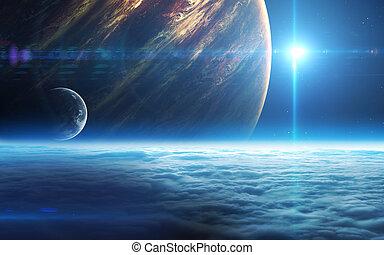 infinito, spazio, fondo, con, nebulas, e, stars., questo,...