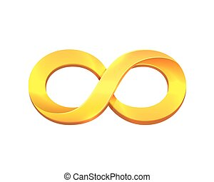 Infinity gold symbol on the white background.