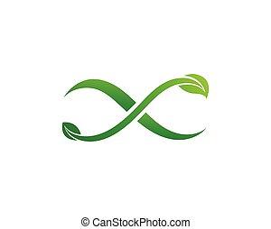 Infinity leaf green Design Vector icon illustration Logo template
