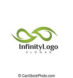 Infinity Leaf green Vector icon illustration Logo