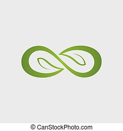 Infinity leaf Vector icon illustration Logo template