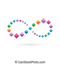 Infinity loop mosaic crystal logo icon design template