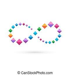 Infinity loop mosaic crystal logo icon design template