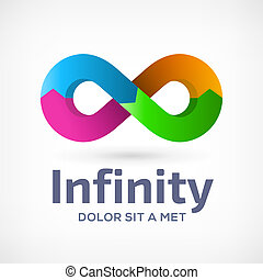 Infinity loop symbol logo icon design template with arrows