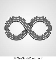 Infinity road vector background.
