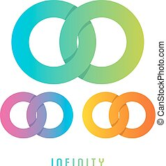 Infinity sign, different colored - Vector illustration of...