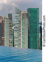 infinity swimming pool and skyline with skyscapers
