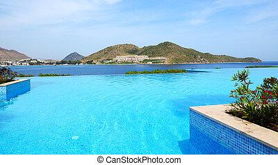 Infinity swimming pool at luxury hotel, Bodrum, Turkey