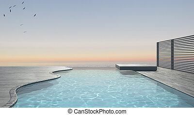 Infinity swimming pool terrace with sea ocean panorama