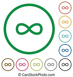 Infinity symbol flat icons with outlines