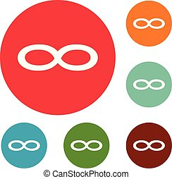 Infinity symbol icons circle set vector