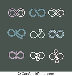 Infinity symbol icons set. Vector illustration