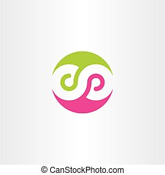 infinity symbol logo sign vector green magenta