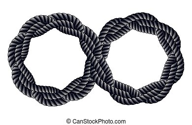 Infinity symbol made from rope vector sign logo or tattoo.