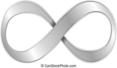 Metallic infinity symbol, vector eps10 illustration