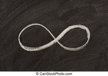 infinity symbol on blackboard - infinity sketched with white...