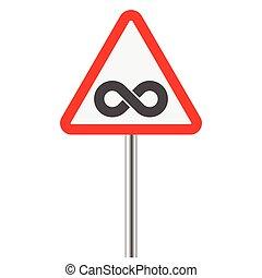 infinity symbol on warning traffic sign