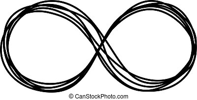 Infinity symbol scribble hand painted with black ink pen....