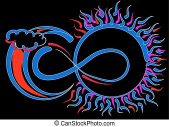 Infinity symbol, sun and moon