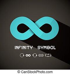 Infinity Symbol - Vector Blue Retro Endless Sign on Dark...